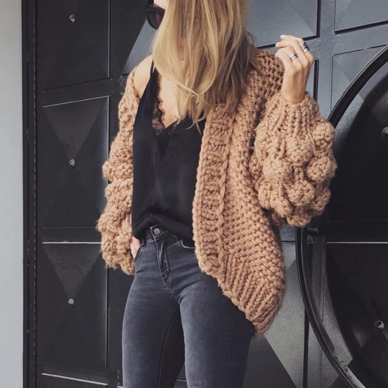Black Crochet Knitted Cardigan Women Long Sleeve Winter Coat Cashmere Ladies Cardigan Sweater Women Winter Womens Sweaters