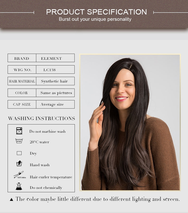 Element 26 Inch Synthetic Wig With Side Fringe Natural Headline Fashion Glueless Ombre Hair Replacement Party Wigs for Women