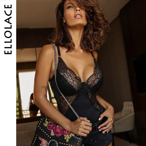 Black Lace Mesh Bodysuit Sexy Women Jumpsuit Backless Transparent Sexy Bodycon Bodys Summer Hollow Out Bodysuits