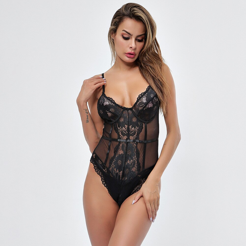 Sexy Mesh Lace Deep V Lace Bodysuit Women Catsuit Sleeveless Clubwear Bodycon Strappy Bralette Summer Jumpsuit