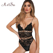 Women Bodysuit Sexy V-neck Hollow Out Lace Backless Strap Black Bodycon Female Camis Catsuit Body Romper New