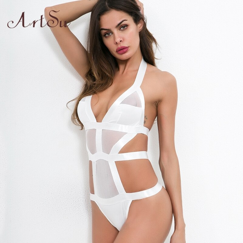 Sexy Mesh Bodysuits Women Transparent  Halter Backless Bodysuits Beachwear Bodycon Bralette Romper Mujers