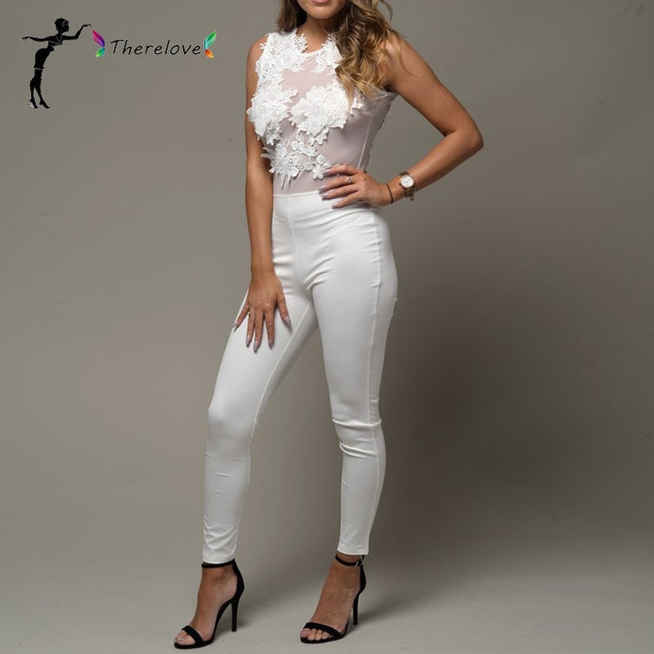 Autumn New Transparent Mesh Embroidery Lace sexy Jumpsuit Sexy Club Bodysuit Women Rompers white jumpsuit for women