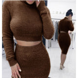 Two Piece Set Women Sweater +Pencil Skirt Suit Long sleeve Fleece Crop Tops Bodycon Skirt 2 Pieces Set Women Knitted Tracksuit