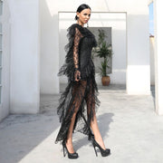 Fashion Khaki Black Lace Jumpsuit Sexy Deep V Neck High Split Celebrity Evening Party Jumpsuits