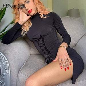 Sexy Black Mini Dress Women Long Sleeve Bodycon Short Dresses Ladies Bandage Tie Up Split Side Woman Dress Autumn