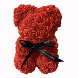 Hot Sale 25cm Rose Bear Pe Foam Roses Flower Artificial Christmas Gifts For Wedding Decoration Women Valentine Teddy Bear