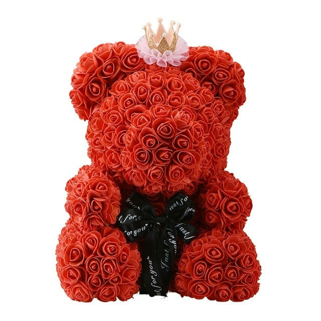40Cm Teddy Bear With Crown In Gift Box Bear Of Roses Artificial Flower New Year Gifts For Women Valentines Gift