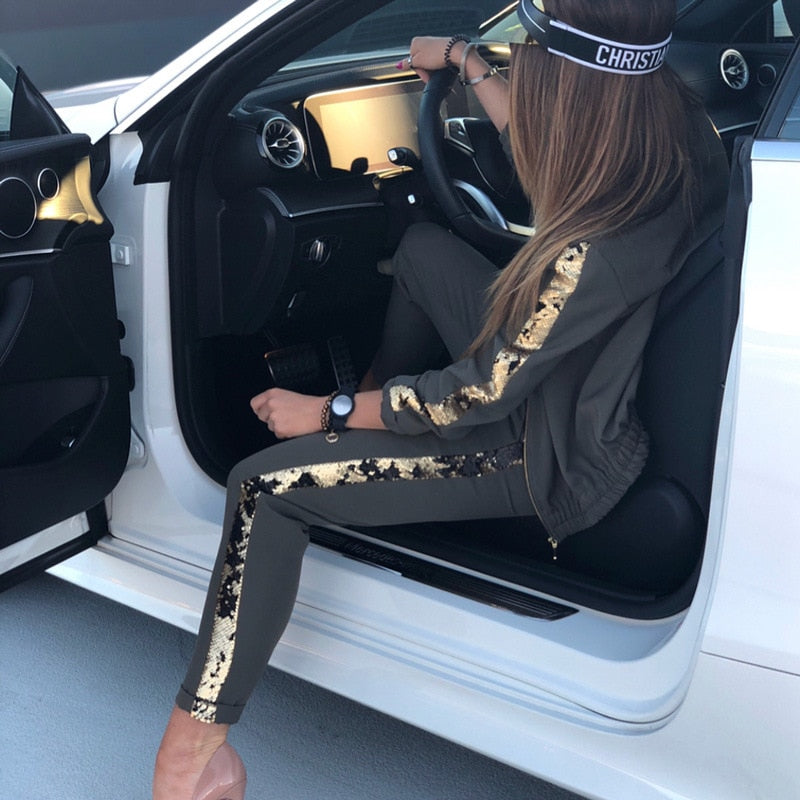 Glitter Tracksuit Women Set Autumn Two Piece Suit Top And Pants 2 Piece Sets Ladies Outfits Sportswear Ladies Tracksuits Suits