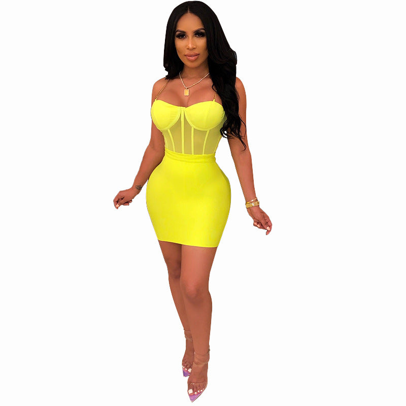 Summer Women Black Dresses Autumn Neon Green Sexy Bodycon Spaghetti Strap Midi Long Party Club Dress For Women Female 2-pieces