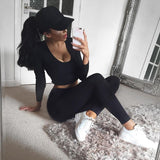 Women Two Piece Set Sports Suit Sexy Solid Color Fitness Leggings Set Long Sleeve Workout Sportswear Harajuku Sets H