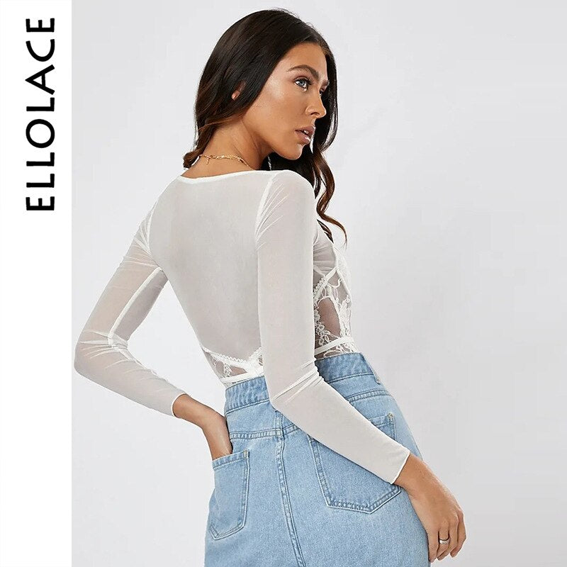 White Lace Body Long Sleeve Transparent Bodysuit Women Female Fitness Bodycon Slim Sexy Overalls Basic Streetwear