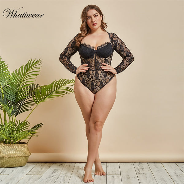 Whatiwear  Plus Size Deep V Neck Embroidery Bodysuit Women Long Sleeve Transparent Sexy Lace Body Romper Summer Jumpsuit