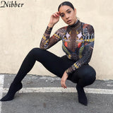 fashion Grotesque girl Mesh print bodysuit womens 2019spring summer Elegant club party full sleeve Street casual jumpsuit