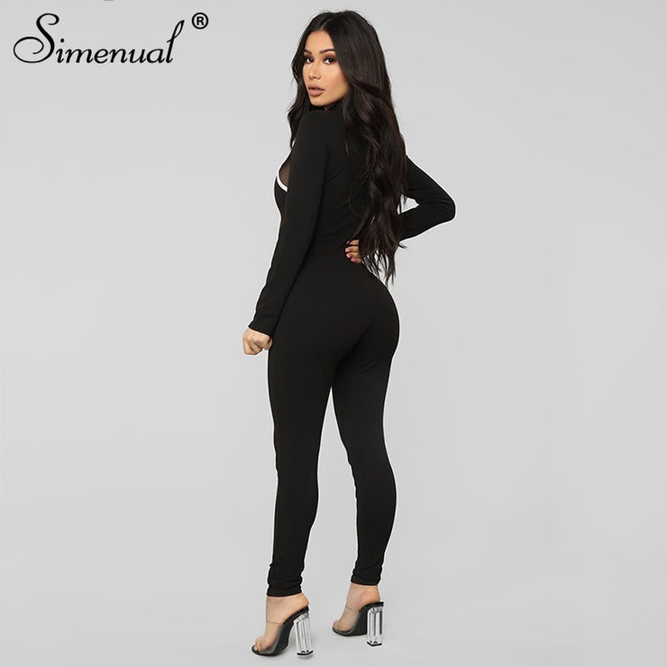 Simenual Fitness Casual Sporty Rompers Womens Jumpsuit Long Sleeve Patchwork  Autumn Workout Active Wear Jumpsuits Push Up