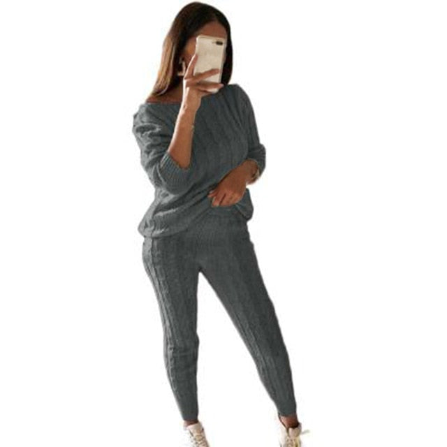 Autumn New Cotton Tracksuit Women 2 Piece Set Sweater Top+Pants Knitted Suit O-Neck Knit Set Women Outwear 2 Piece Set
