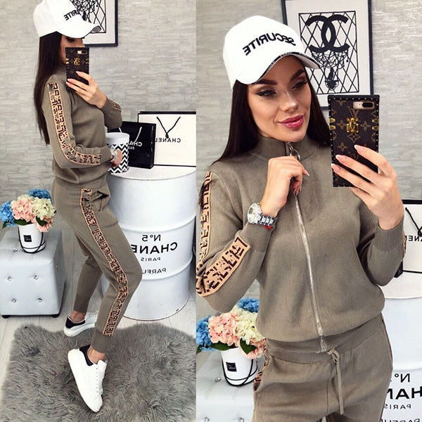 Spring Women Sport Suits Fashion Printed Running Sets Sweat Pants Female Jogging Suit Tracksuit Hooded Sweatshirt