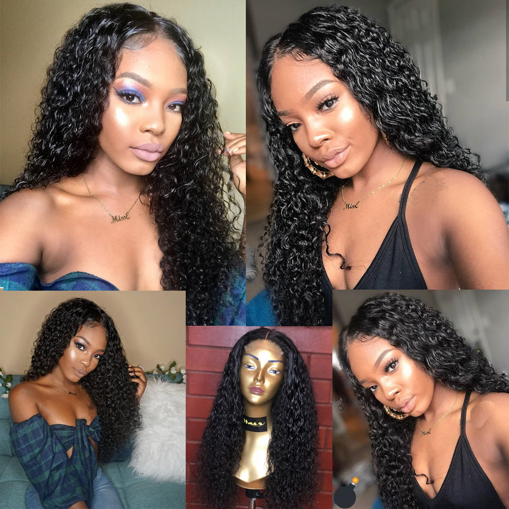 Curly Human Hair Wig Closure Wigs For Black Women 30 Inch Lace closure Wig Remy Megalook 180% Density Peruvian 4x4 Closure Wig