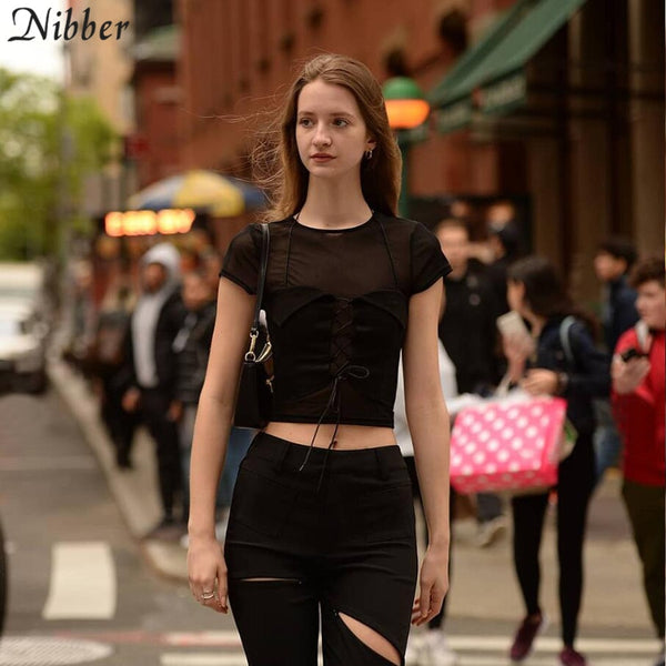 Nibber sexy Mesh wild T-Shirt Hipsters Lace Up Top women 2two Pieces Sets summer fashion Tees Basic Casual Slim Sheer Tshirt