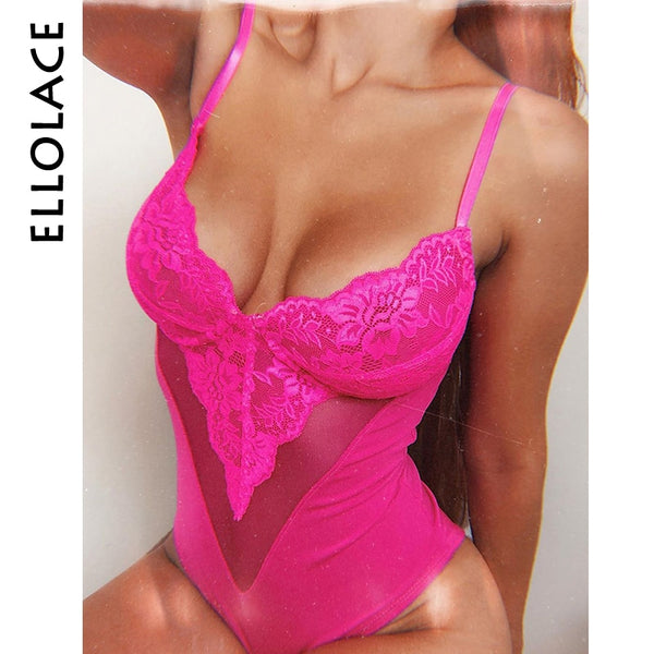 Ellolace Pink Bodysuit Women Mesh Bodys Patchwork Deep V Fitness Floral Embroidery Bow Tie Transparent Sexy Bodysuit Jumpsuit
