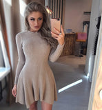 Women Long Sleeve Sweater Dress Women's Irregular Hem Casual Autumn Winter Dress Women O-neck A Line Short Mini Knitted Dresses