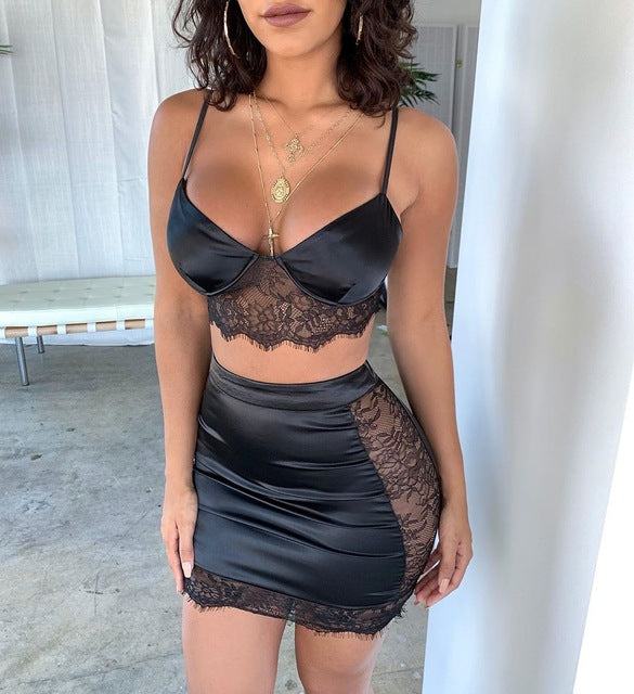 Black Lace Two Piece Set Hollow Out Side Transparent Women Sexy Clubwear Party 2PC Set Summer V Neck Fashion Suit