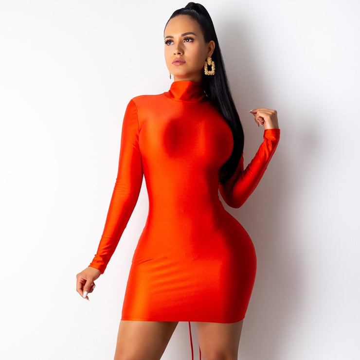 mini Bodycon Dress kyliejenner Women backless long sleeve Autumn Dress Elegant Sexy Dresses