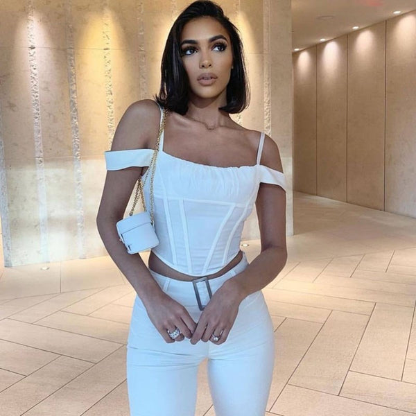 New Summer Women Slash Neck Bodycon Tank Club Short Sleeveless Pleated Camis Solid Spaghetti Strap Sexy Crop Tops