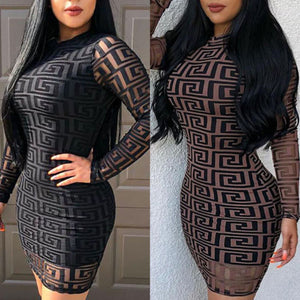 Brand New Fashion Women Sexy Ladies O-Neck Black Dress Bandage Bodycon Long Sleeve  Party Cocktail Short Mini Dress