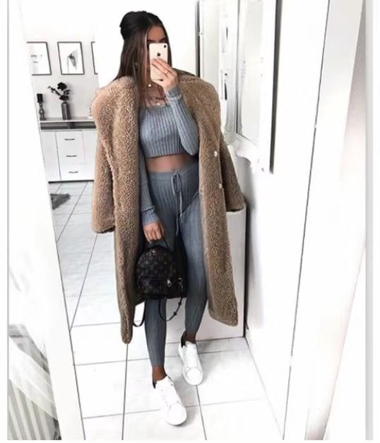 Autumn Winter Coat Women Casual Loose Solid Long Teddy Coat Female Vintage Plus Size Thick Faux Fur Jackets Coats White 5XL