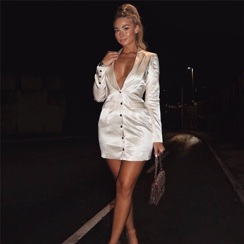 long sleeve satin mini blazer dress autumn winter women party streetwear elegant outfits