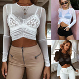 NEW Women Mesh Sheer See-through Long Sleeve Crop Top Shirt Blouse Fold Fashion