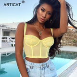 Articat Spaghetti Strap Sexy Crop Top Women Bustier Summer Sleeveless Backless Short Cropped Top Tees Casual Camisole Streetwear