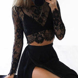 New Women's perspective top lace Hollow out sexy Sheer Mesh Tee Bodycon Long Sleeve balck white Tops Beach T Shirt