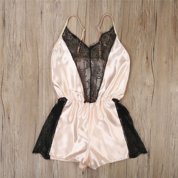 Women Lace Loungewear Sleepwear Pajamas V-neck Romper Lady Silk Satin Sexy Chemise Nightwear Jumpsuits