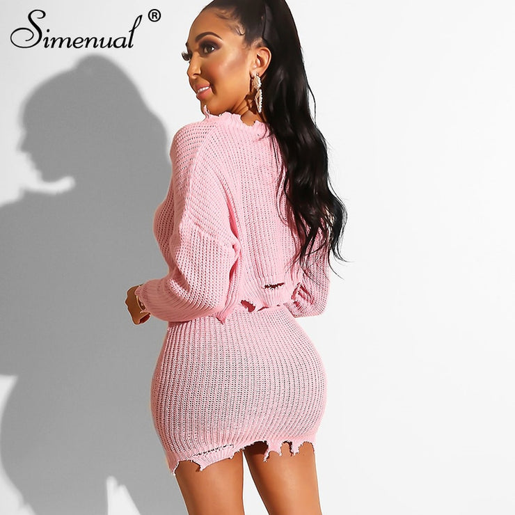 Simenual Knitted Autumn Fashion 2 Piece Outfits Women Long Sleeve Casual Matching Sets Solid Cropped Sweater And Skirt Set