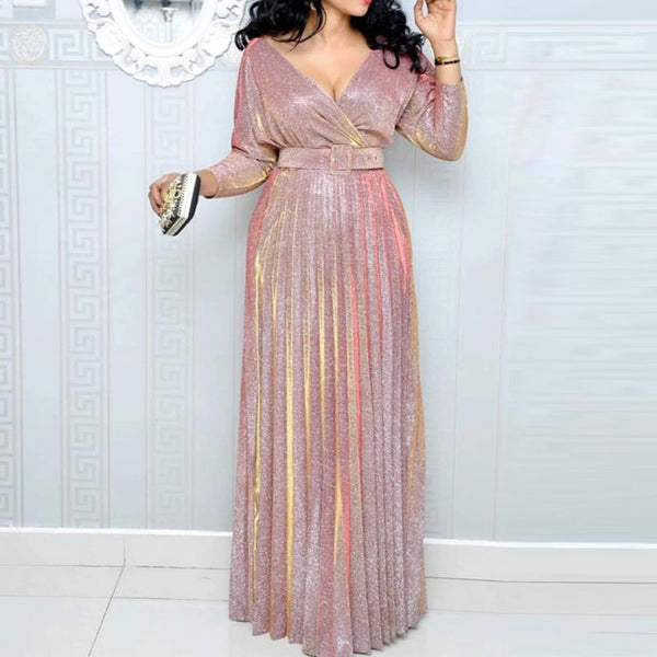 Reflective Long Dress Women Pleated Sexy Deep V Neck Elegant Autumn High Waist Belt Glitter Evening Party Pink Maxi Dresses