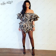 Summer Animal Print Rihanna Dress Off Shouder Raffle Sexy Women Clothing Celebrity Style Mini Flare Sleeve