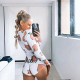 Women's Plunge V Neck Bodycon Long Sleeve Bodysuit Tie Stretch Leotard Crop Tops Short Romper Sleepwear Pajamas Suit
