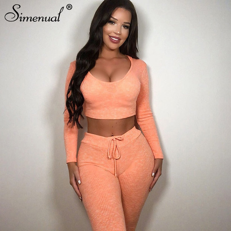 Simenual Sexy Fashion Ribbed Women Matching Sets Autumn Solid Basic Two Piece Outfits Long Sleeve Crop Top And Leggings Set Hot