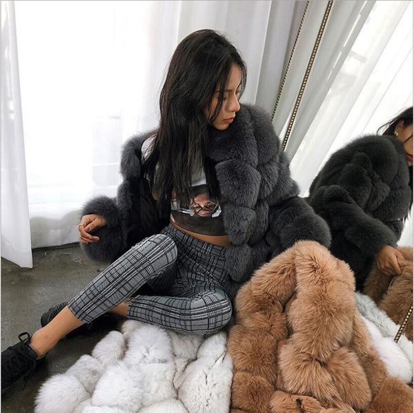 new winter imported fox fur coat female temperament warm womens plus size fashions faux fur coat coat