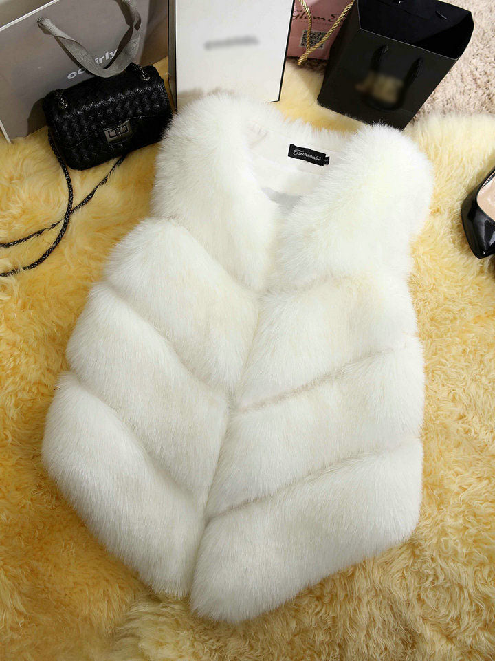 Faux Fur Winter Vest Women Soft Trouching Waist Coats Female Sleeveless Jacket For Ladies Fashion Fake Fur Outerwear Femme