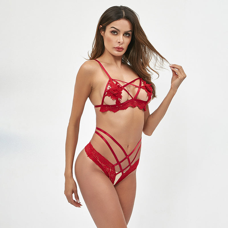 Sexy Lace Underwear Lingerie G-String Set Women Sets Soft Femme Sexy Fashion New Babydoll Open Bra & Brief Sets