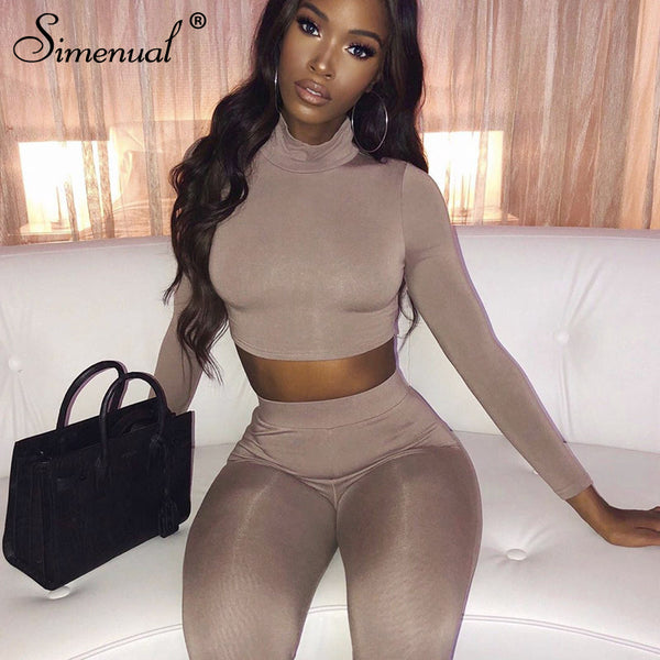 Simenual Fitness Solid Fashion Matching Set Women Autumn Winter Two Piece Outfits Long Sleeve Crop Top And Leggings Set New