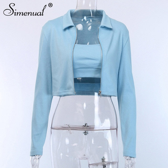Simenual Fashion Casual  Autumn Women Jacket Long Sleeve Zipper 2 Piece Tank Top And Coats Solid Slim Female Winter Jackets