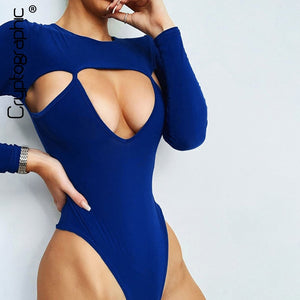 Sexy Hollow Out Women Bodysuit New Fashion Casual Bodycon Bodysuits O-Neck Long Sleeve Solid Skinny Rompers