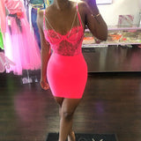 Fashion Neon Eyelash Chain Romper Sexy Spaghetti Strap Backless Overalls For Women Floral Hollow Out Lace Bodysuit