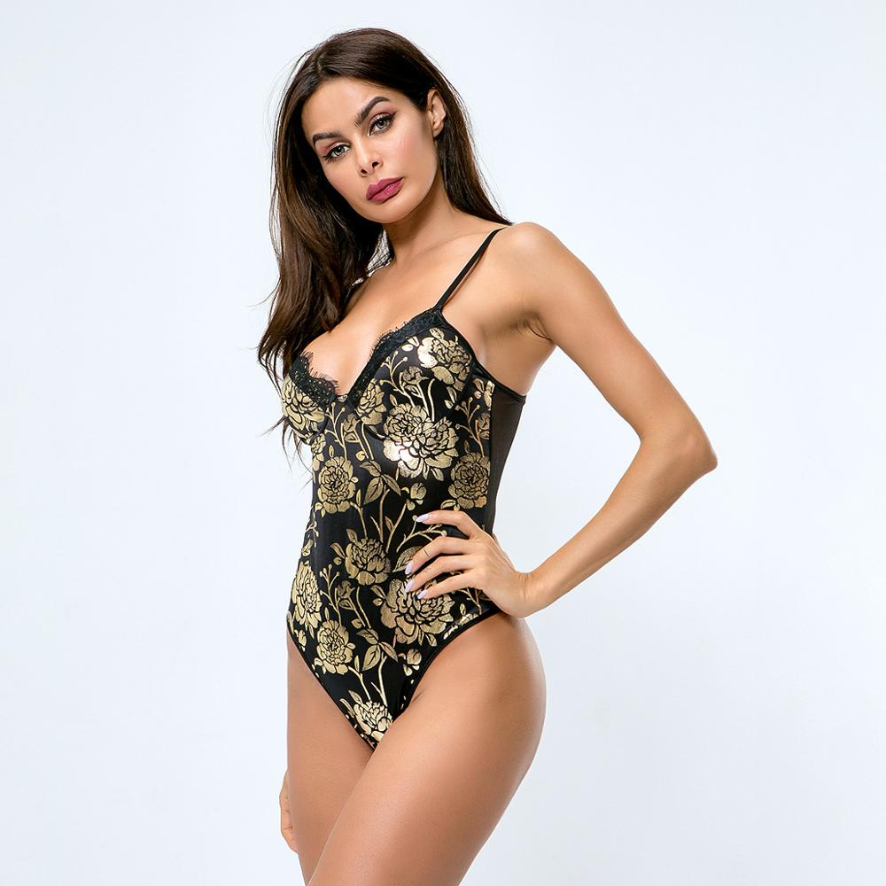 Black Floral Lace Bodysuits Sexy Spaghetti Strap Teddy Female Sleeveless V Neck Patchwork Mesh Jumpsuit
