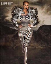 New Style Zebra Pattern Jumpsuit Women Singer Sexy Stage Outfit Bar DS Dance Cosplay Bodysuit Costume Prom Clothes