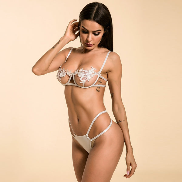 Sexy Underwear Women Set Mesh Lingerie 2 Piece Set See Through Bralette and Thong Bandage G-String Spaghetti Straps